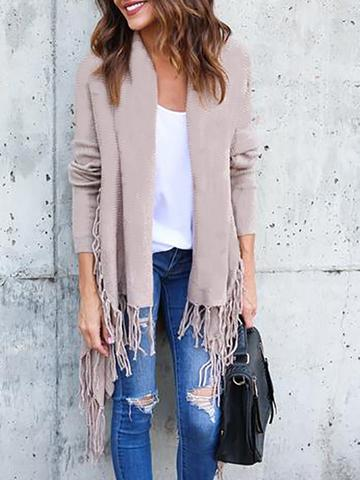Cashmere Cardigan Long Sleeve Lapel Tassels Coat