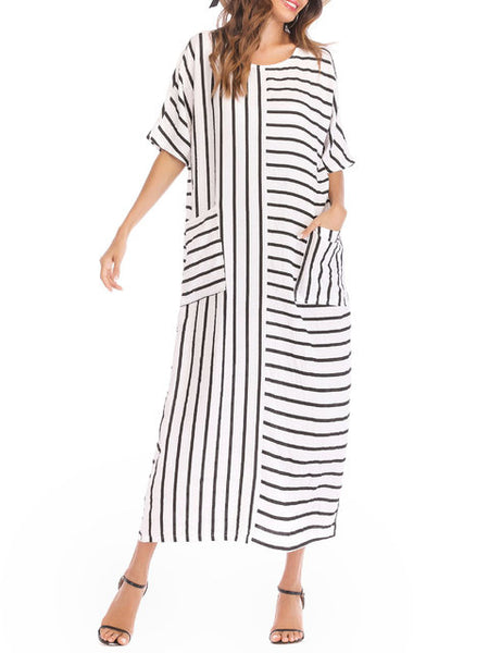 Plus Size Women White Shift Daytime Casual Short Sleeve Cotton Pockets Striped Dress