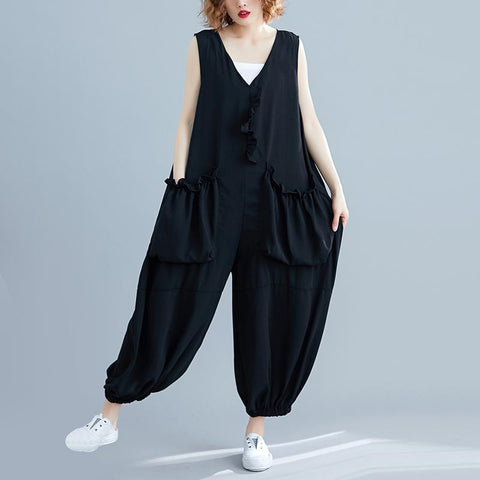 Commuting V Neck Ruffled Pleated Patch Pocket Sleeveless Jumpsuit