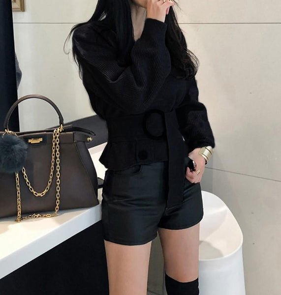 Casual Sexy V Collar   Long Sleeve Shown Thin Knitted Sweater  Blouse