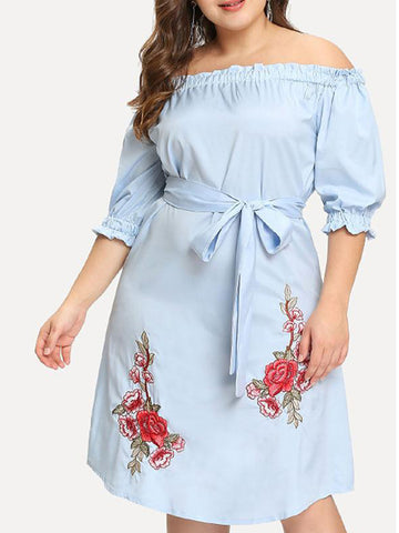 Off Shoulder Lace Up Embroidered Plus Size Shift Dress