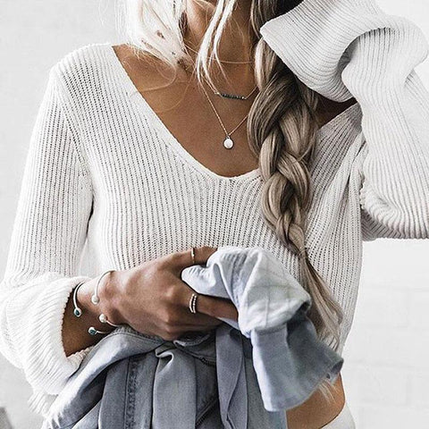 Long Sleeve V-Neck Sexy Navel Sweaters