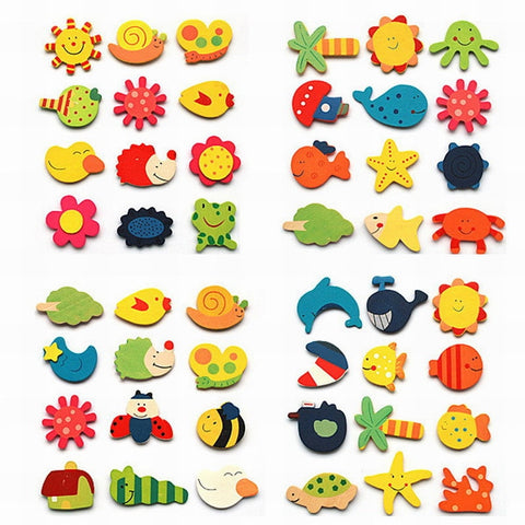 12pcs/lot Colorful Wooden Animal Cartoon Fridge Stickers Kids Toys Refrigerator Magnet for Children Baby Education Toy Gift