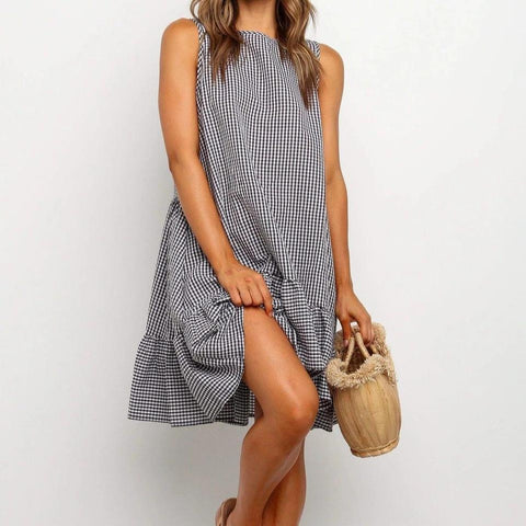 Fifity Temperament Round Neck Sleeveless Plaid Ruffle Mini Dress