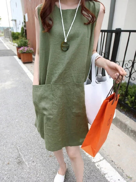 Plus Size Women Shift Daytime Sleeveless Solid Dress