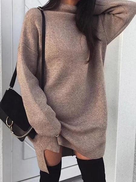 Turtle Neck Women Daily Casual Long Sleeve Knitted Solid Plus Size Dress