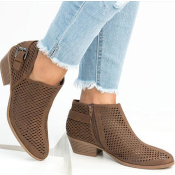 Hollow Out Plain Chunky Low Heeled Point Toe Casual Date Ankle Boots
