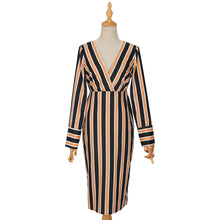 Load image into Gallery viewer, Fall Chic Vintage Long-Sleeve Print Stripe Bodycon Dress