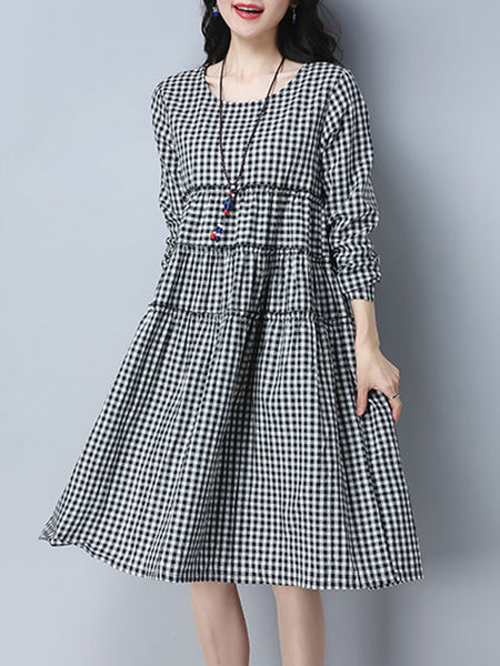 Women Black Daily Casual Long Sleeve Cotton Paneled Gingham Dress