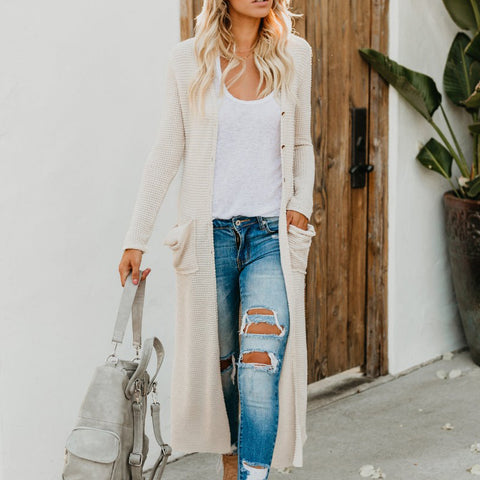 Fashion Plain Long Sleeve Cardigans