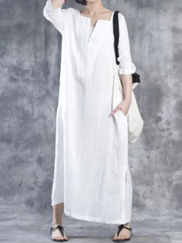 Plus Size V neck Women Shift Daily 3/4 Sleeve Linen Solid Dress