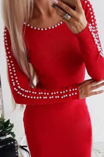 Round Neck  Beading  Plain  Long Sleeve Bodycon Dresses