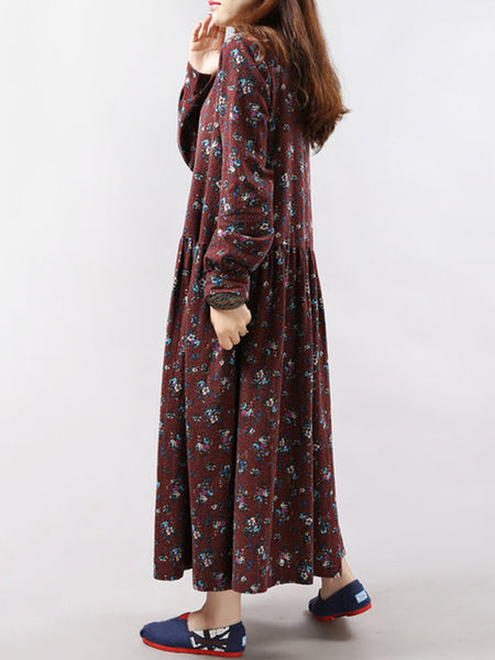 Women Daytime Long Sleeve Casual Printed Floral Dress