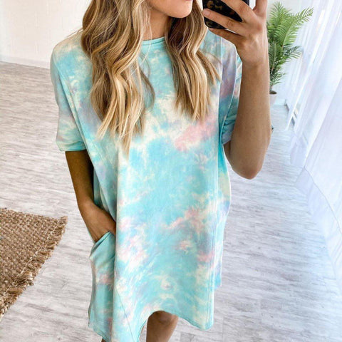 Fifity Casual And Comfy Tie Dye Short Sleeve Mini Dress