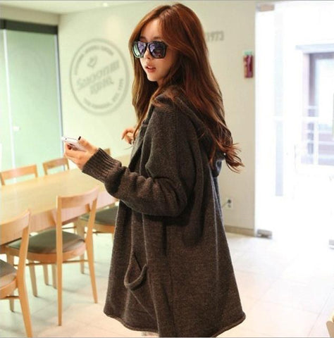 Loose Hooded Cardigan Solid Color Pocket Sweater