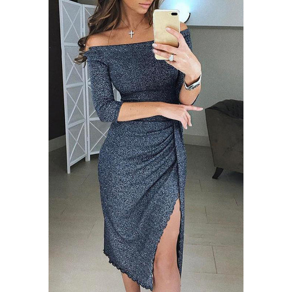 Off Shoulder Collar Bodycon Dress