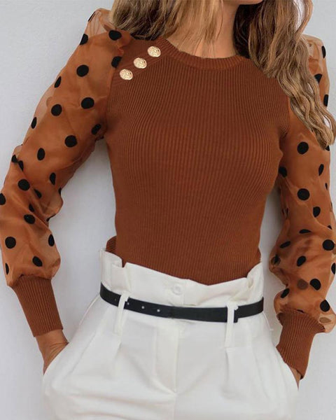 Polka Dot Mesh Sleeve Rib Top