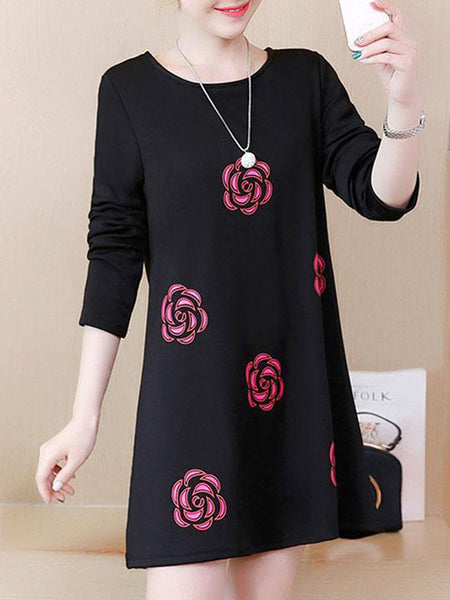 Flower Loose Casual Shift Dress