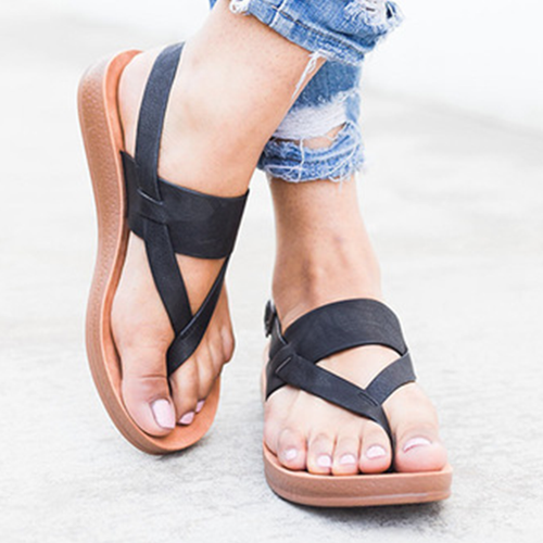Plus Size Thong Buckle Flat Sandals