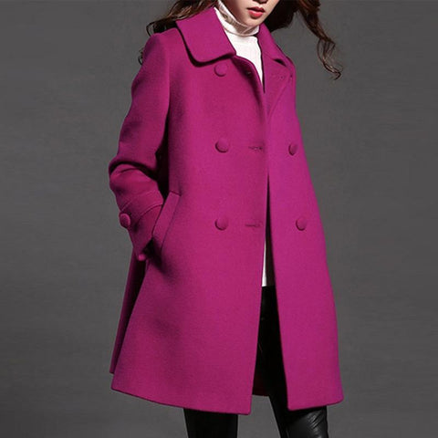 Lapel Double Breasted Pocket Plain Woolen Coat