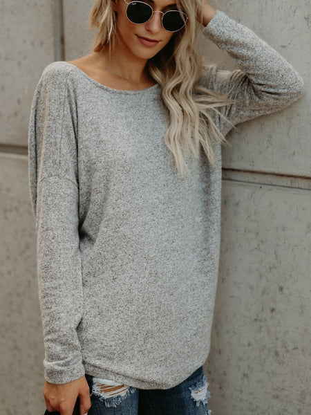 Cross Back V-Neck Long Sleeve Fashion Pullover Sweater