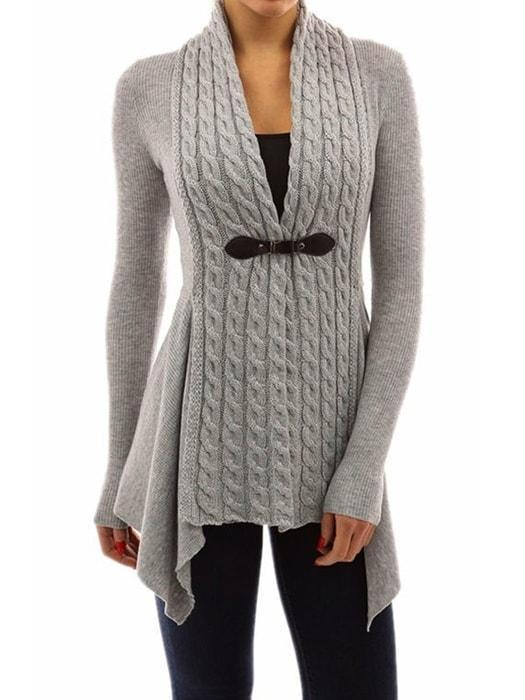 Ribbed Irregular Hem Knitted Cardigan