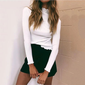 Fashion Plain Slim Long Sleeve Sweater Base Shirt
