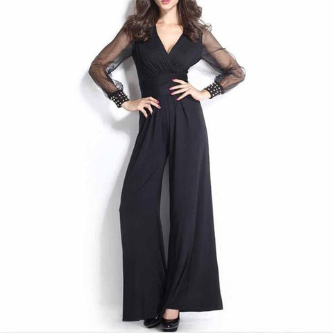 Sexy V Neck Lace Splicing Long Sleeve Jumpsuits