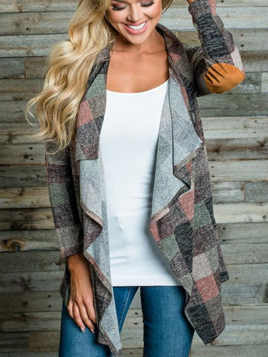 Patchwork Colouring Long Sleeve Cardigans