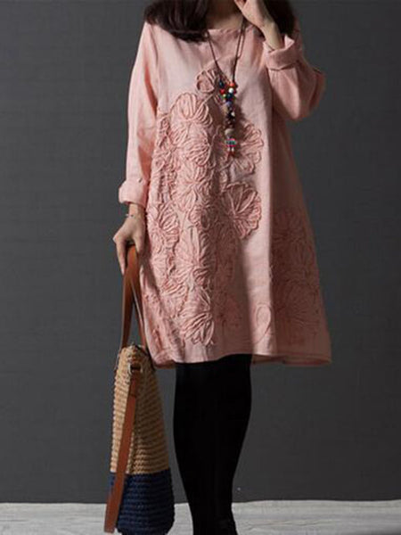 Women Daytime Cotton Casual Embroidered Dress