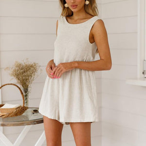 V-Neck Halter Cotton And Linen Shorts