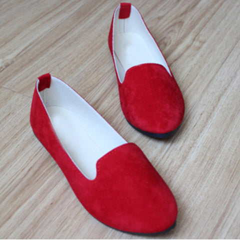 Plain Flat Velvet Round Toe Casual Flat Loafers