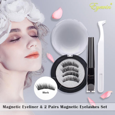 Magnetic Eyeliner & 2 Pairs Magnetic Eyelashes Set, 4ml Waterproof Liquid Eyeliner 5 Magnet Black Reusable Full Eye False Lashes with Eyelash Tweezers For Makeup Cosmetics (Style04)