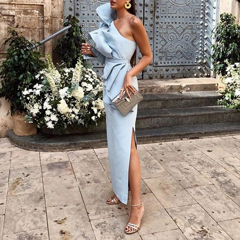 Fashion One Shoulder Belt Flouncing Maxi Dress