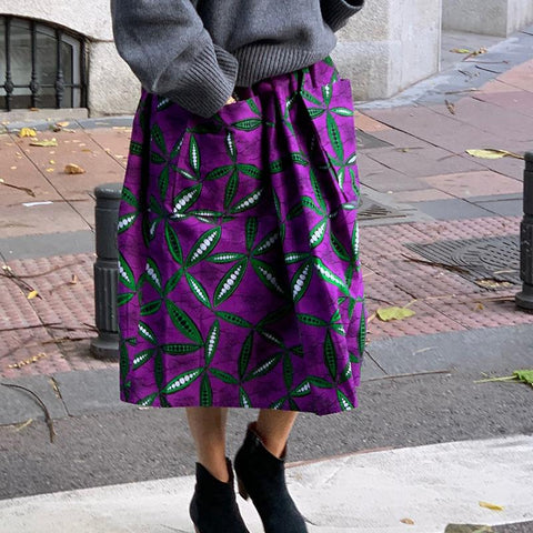 Fashion Casual Purple Printed Skirt RY58