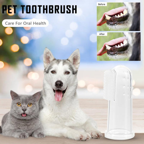 1pcs Transparent Super Soft Pet Finger Toothbrush Teddy Dog Brush Bad Breath Tartar Teeth Tool Dog Cat Cleaning Supplies