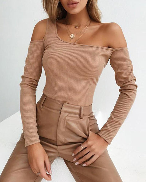 One Shoulder Rib Top