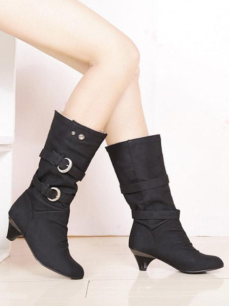 Faux Fur Lined Heeled Boots With Buckle