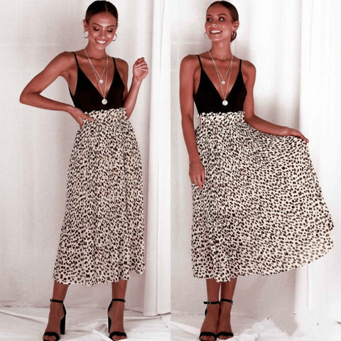 2018 Vintage Leopard Print Long Skirts Women Summer Skirt Fashion High Waist Chiffon Beach Skirt