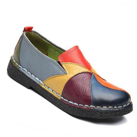 Mixed Colors Genuine Leather Loafers