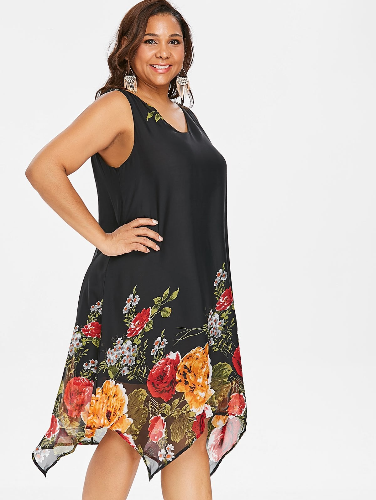 6ca7033e8b3f9 Plus Size V Neck Floral Handkerchief Dress – ebuytide