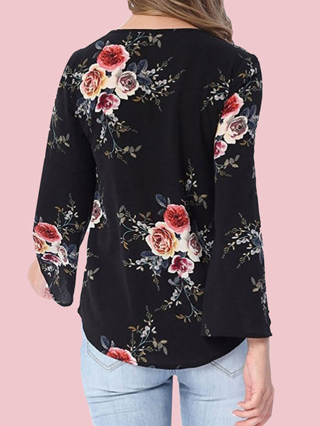 Surplice Floral Printed Long Sleeve Blouses