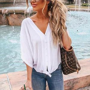 V Neck Polyester Plain Casual Blouses