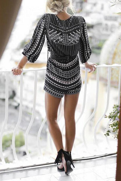 Deep V Neck Printed Vintage Half Sleeve Playsuits