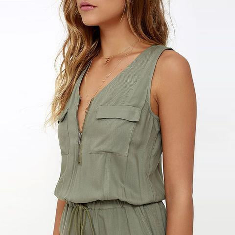 Casual Army-Green V Neck Sleeveless Lace-Up Short Jumpsuits