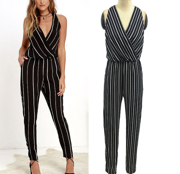 Sexy Deep V Collar Halter Strip Jumpsuit