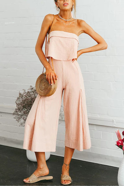Strapless Backless Plain Sexy Jumpsuits