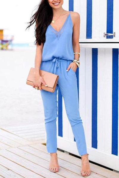 Casual Fashion Light Blue V Neck Jumpsuit