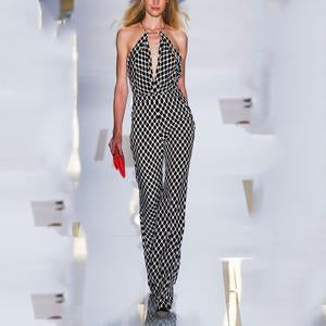 Plaid Sleeveless Sexy Jumpsuit