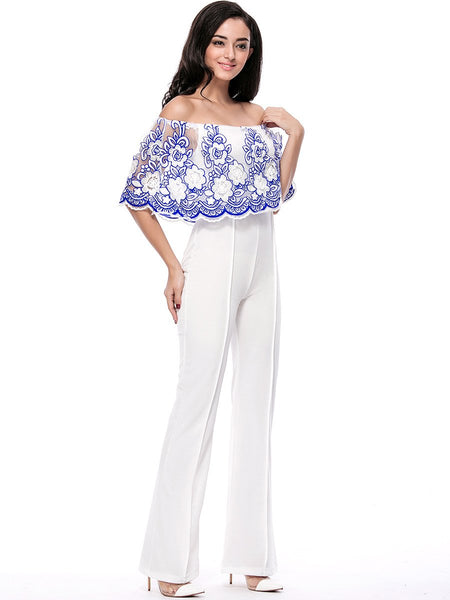 Off Shoulder Decorative Lace Hollow Out Straight Jumpsuit